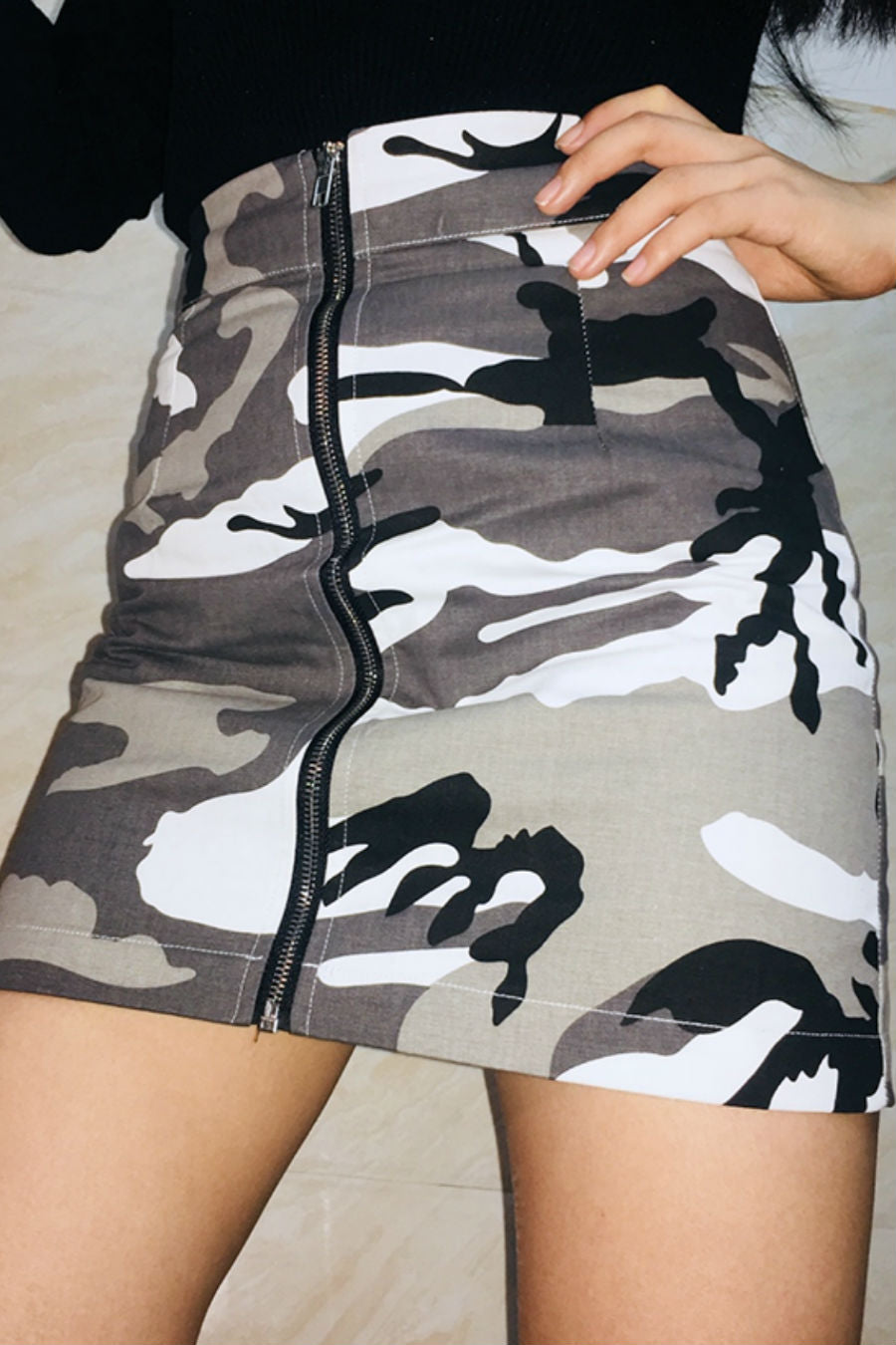 Camouflage Zippered Mini Skirt