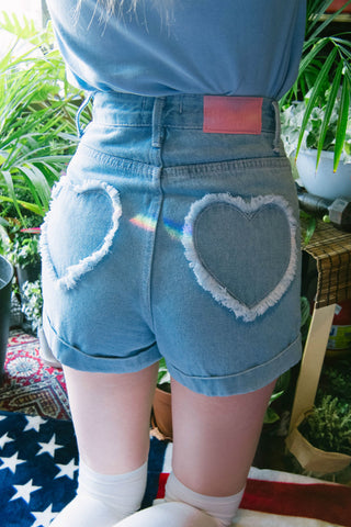Heart Pockets Denim Shorts