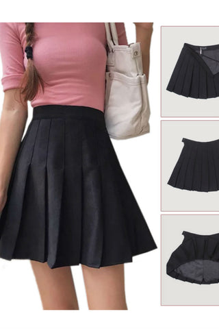 Suede Retro Pleated Skirt