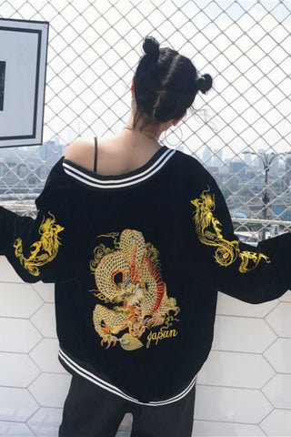 Dragon Embroidery Velvet Jacket