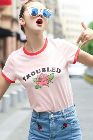 Troubled Rose Pink T-shirt