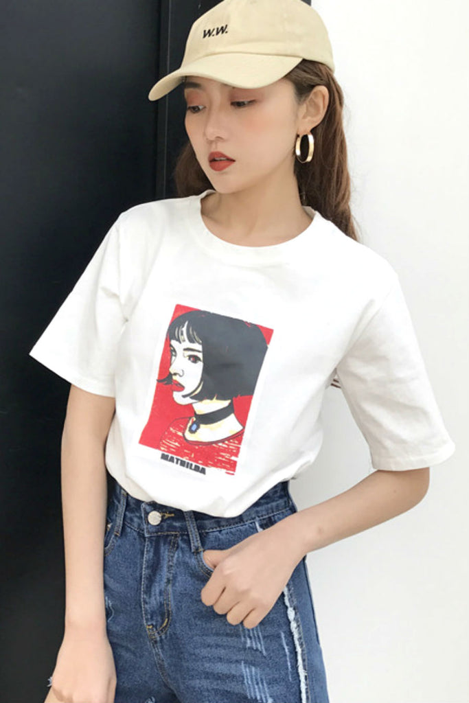 Anime Girl Print  T-shirt