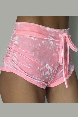 Velvet Drawstring Hot Shorts