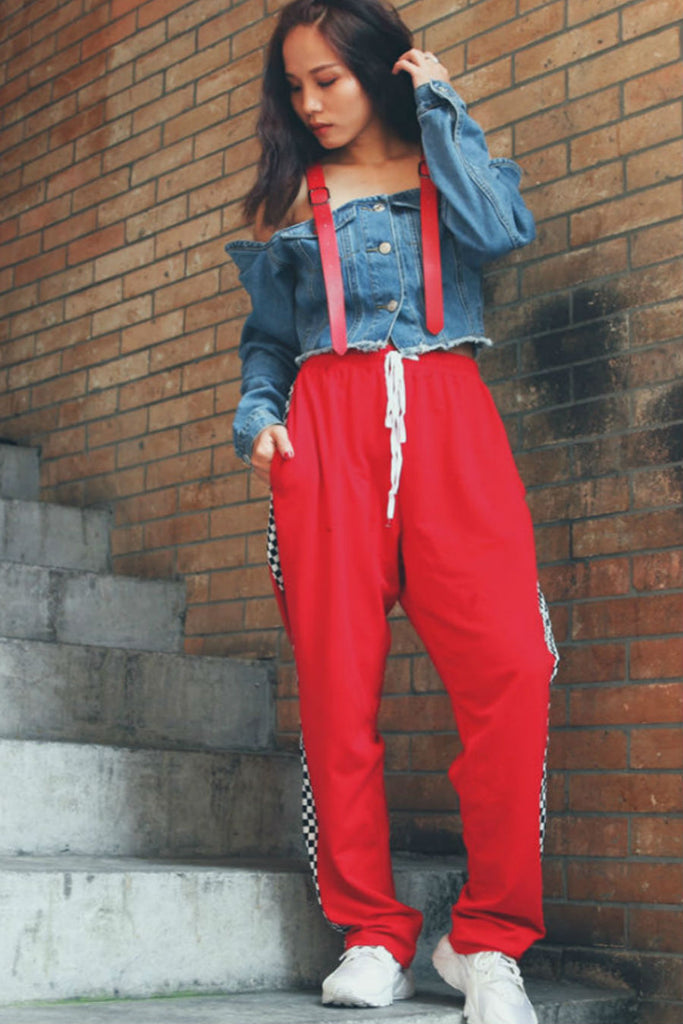 Red Checker Casual Pants
