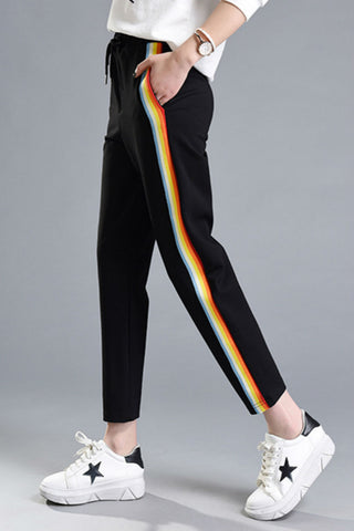 Rainbow Striped Jogger Pants