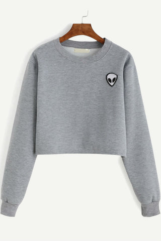 Alien Patch Crop Sweatshirt