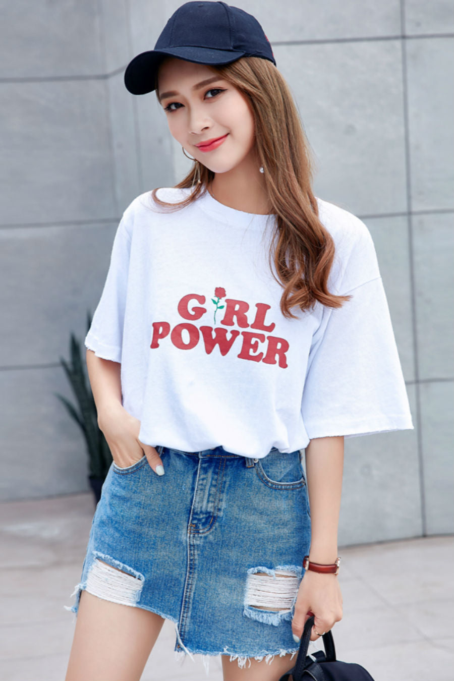Girl Power Print Long T-shirt
