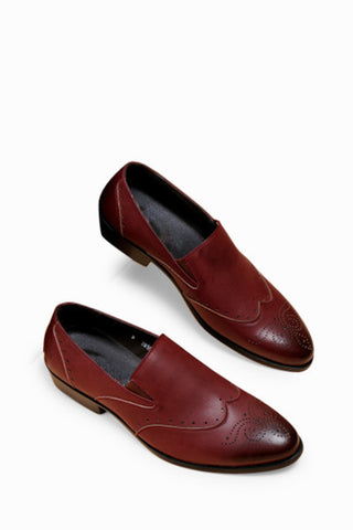 Brogue Loafers In Burgundy