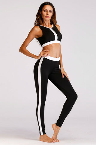 Black White Sport Bra And Legging Set