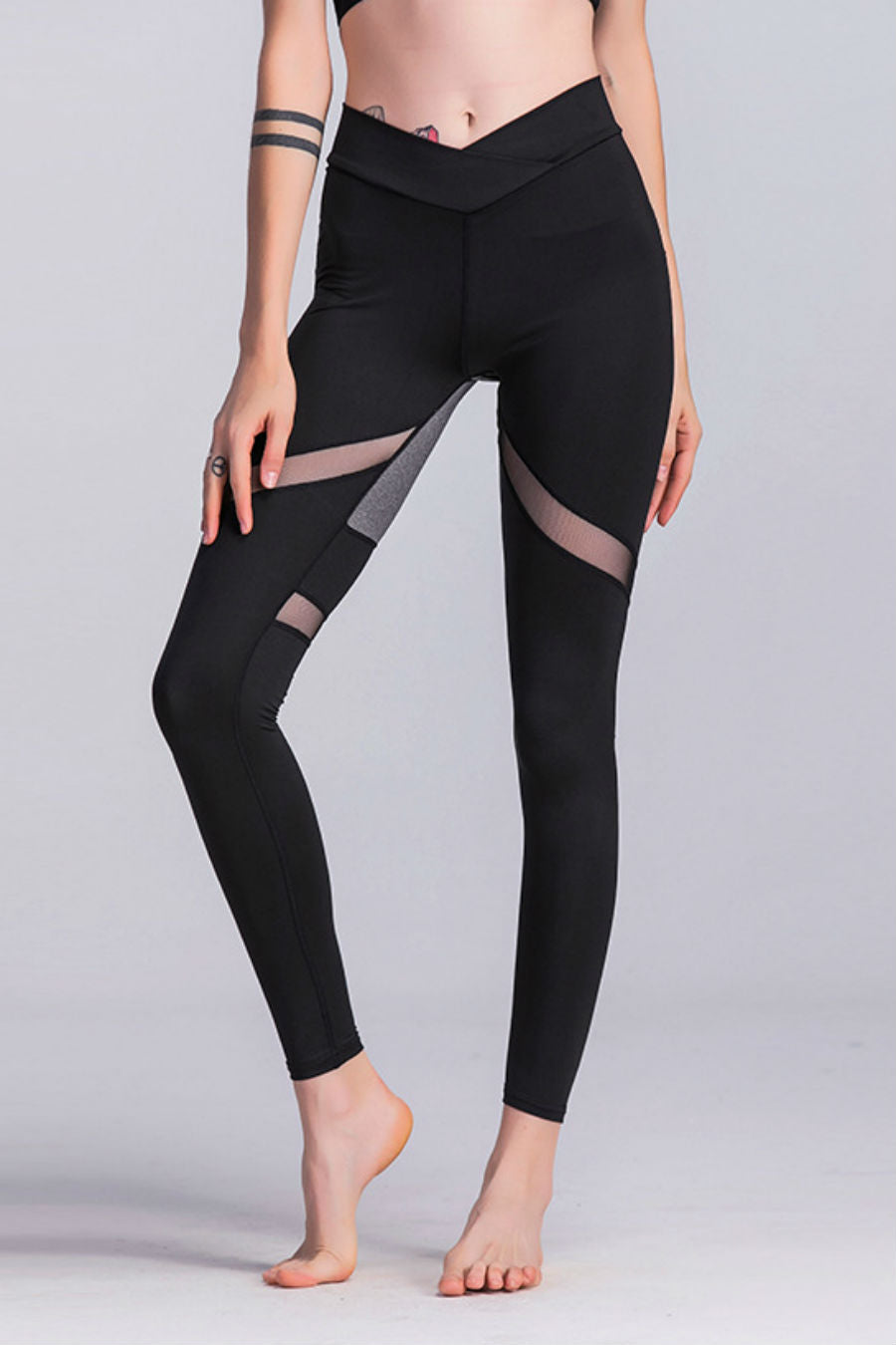 Color Block Mesh Yoga Leggings
