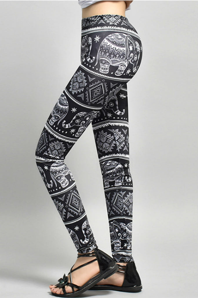 Black Elephant Yoga Leggings