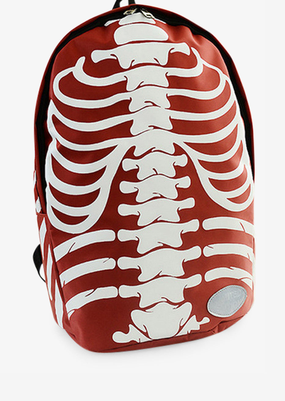 White Skeleton Backpack In Red