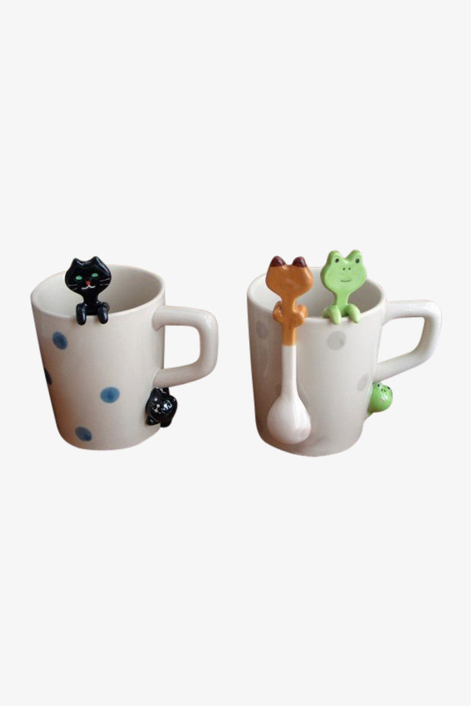 Two Pieces Cute Animal Hanging Ceramic Spoons For Stirring Coffee