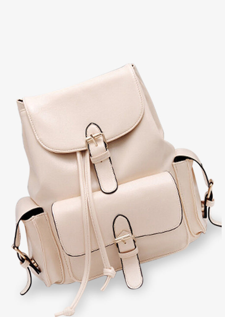 Beige Leather Miniature Backpack Purse