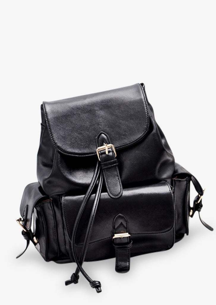 Black Leather Miniature Backpack Purse