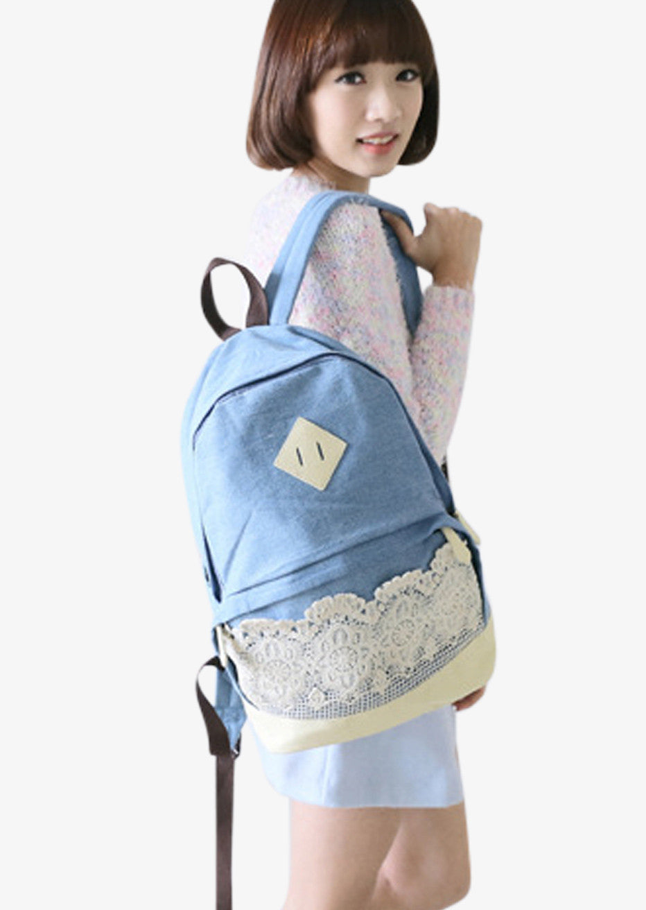 Sky Blue Backpack With Lace