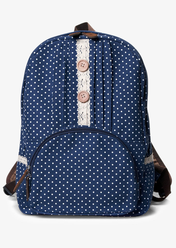 Navy Blue Backpack With Polka Dots And Lace