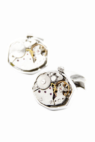 Polygon Silver Cufflinks For Men