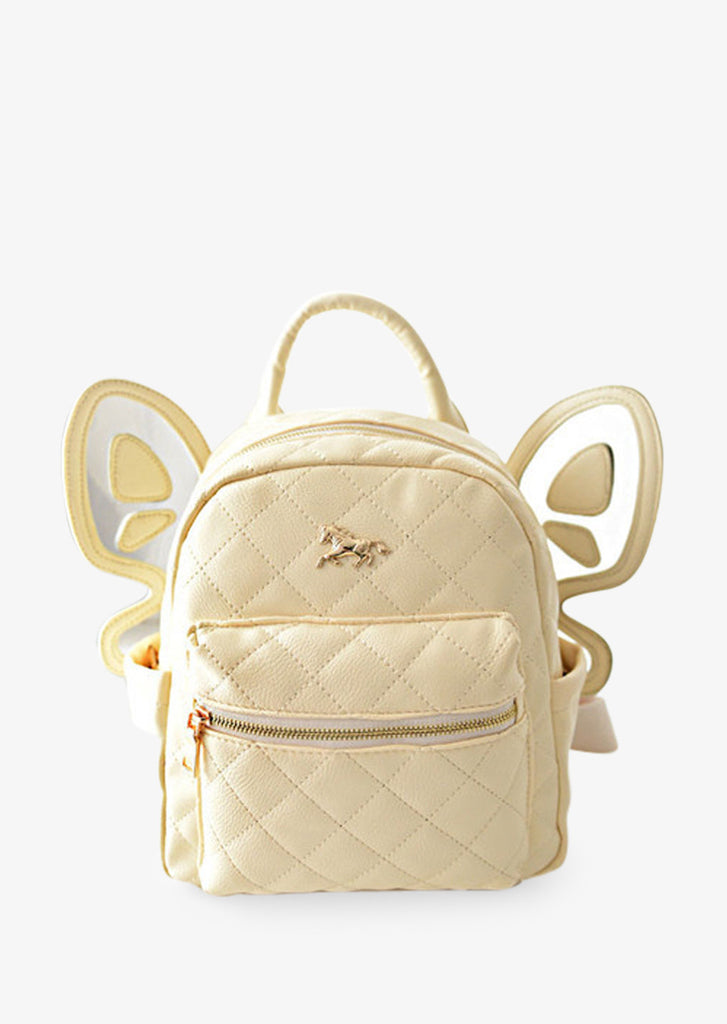 Beige Leather Butterfly Backpack