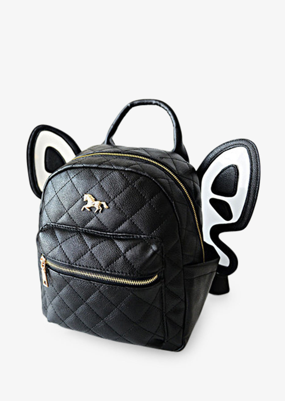Black Leather Butterfly Backpack