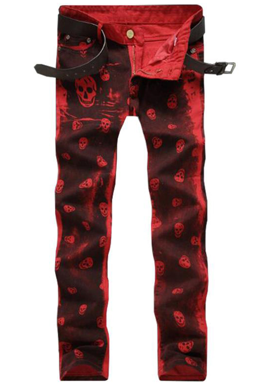 Skull Print Red Straight Jeans