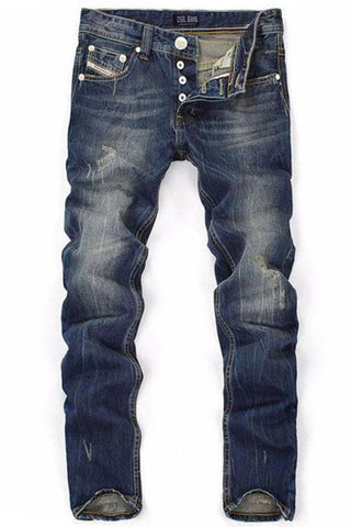 Stonewashed Straight Ripped Jeans