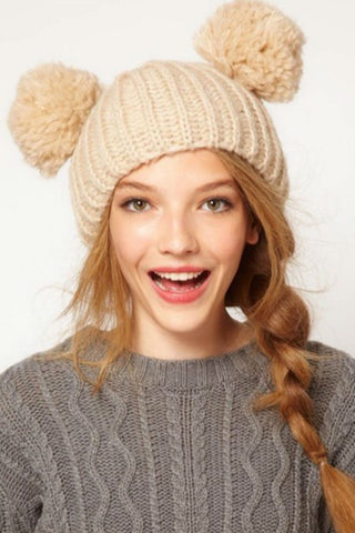 Cute Beige Knitted Beanie