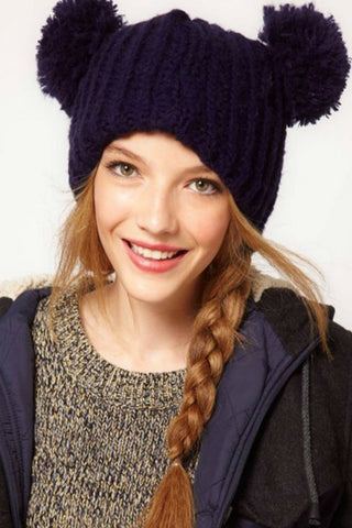 Cute Navy Knitted Beanie