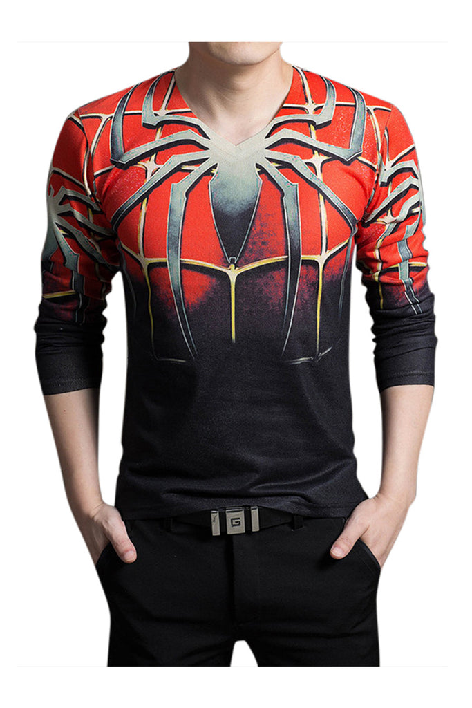 Spider Print Slim Fit Long Sleeve T-Shirt