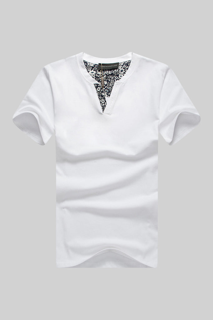 White V-neck Short Sleeve Tee