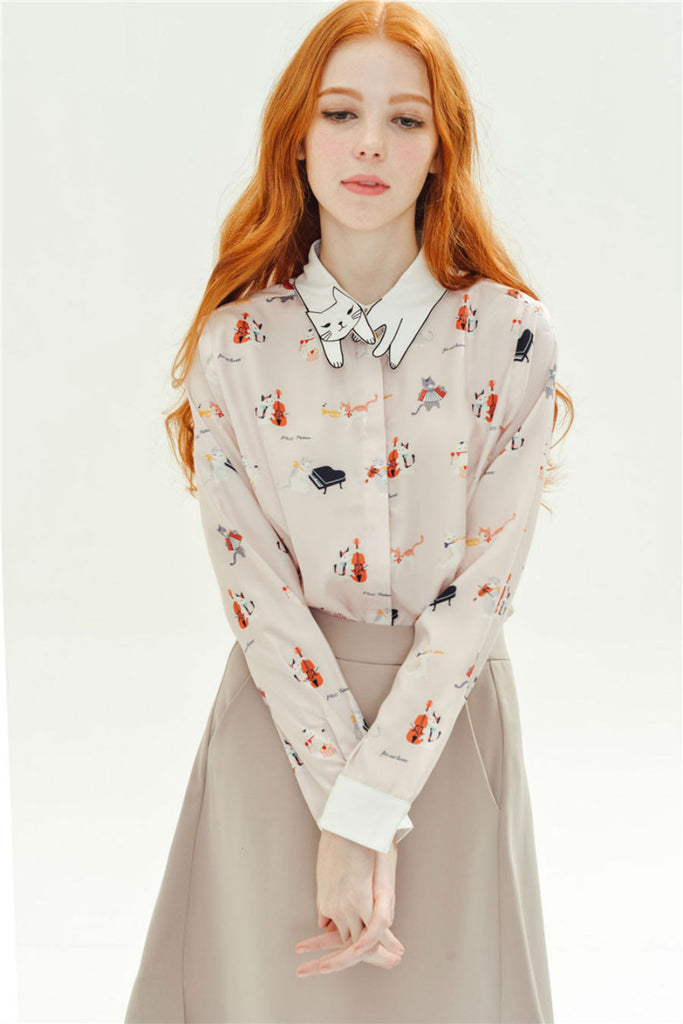 Retro Piano Cat Long Sleeve Blouse