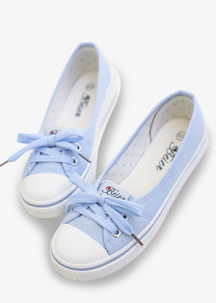 White And Blue Canvas Sneakers
