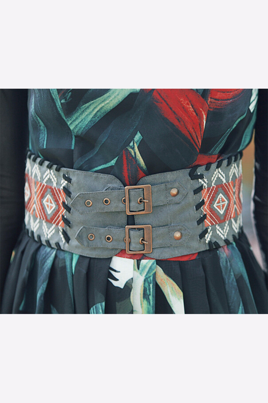 Embroidered Cord Belt
