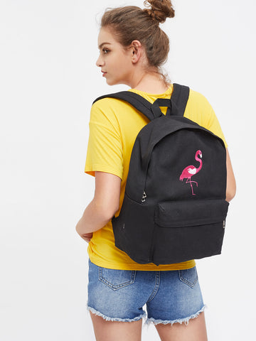 Flamingo Cute Canvas Backpack