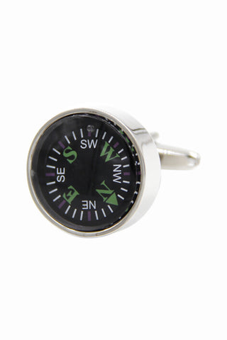 Black Compass Cufflinks For Men