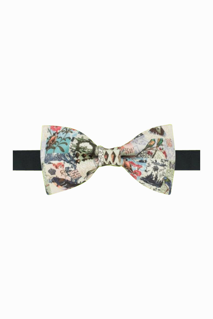 Retro Inspired Cream Pattern Bow Tie