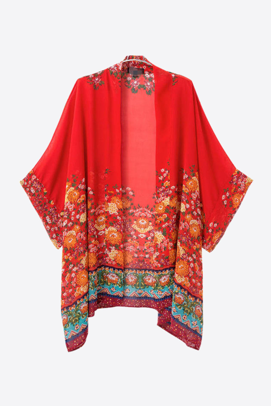Red Floral Printed Kimono