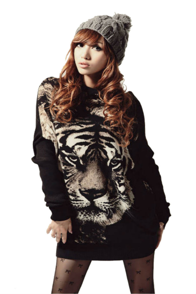 Black Tiger Print Jumper