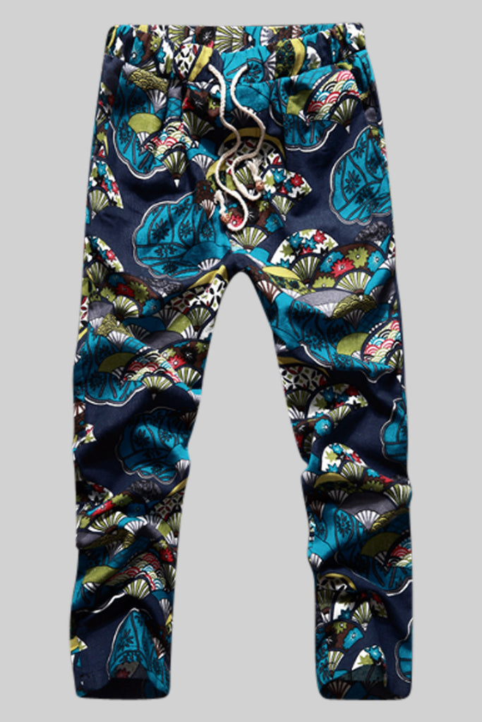Floral Print Tie Front Pants In Blue
