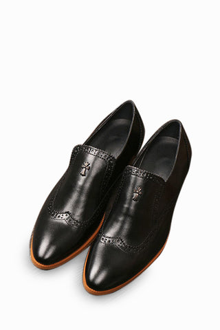 Black Brogue Dress Loafers Shoes