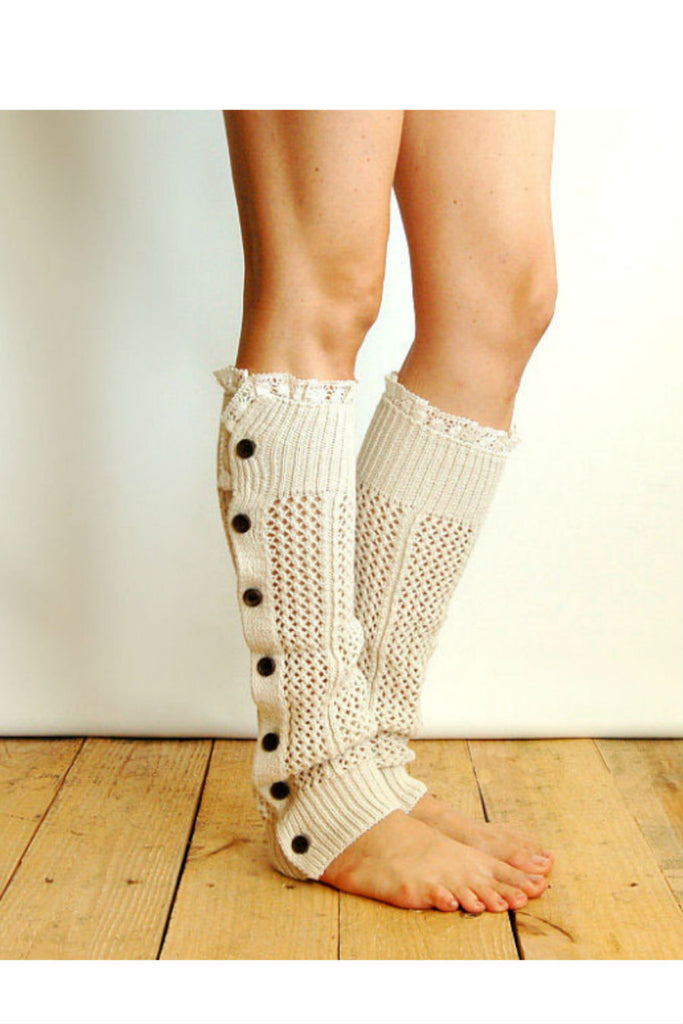 White Lace And Button Hollow Knitted Leg Warmers