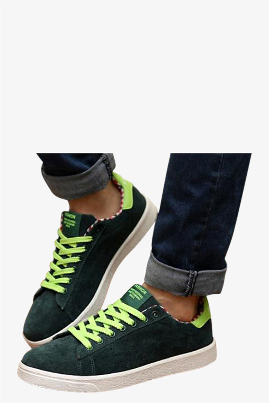 Simple Style Sneakers In Green
