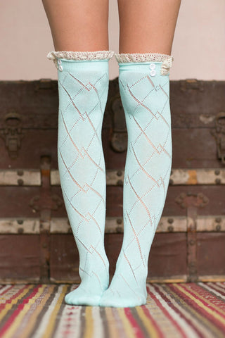 Pastel Blue Boot Lace Sock