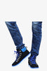 Retro High Top Boots In Black and Blue
