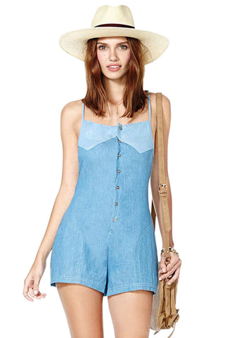 Button Closure Denim Romper