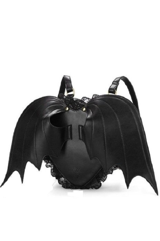 Winged Heart Backpack Black Purse