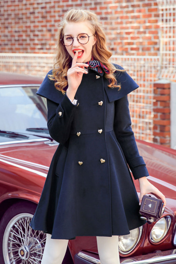 Heart Button Woolen Coat