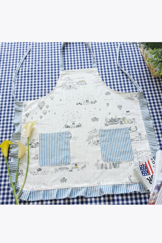 Lolita Painting Hostess Apron In Sky Blue