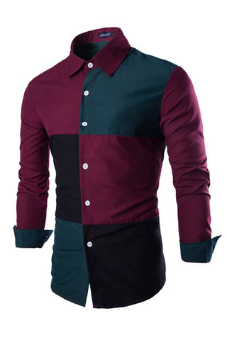 Color Block Stitching Slim Fit Shirt