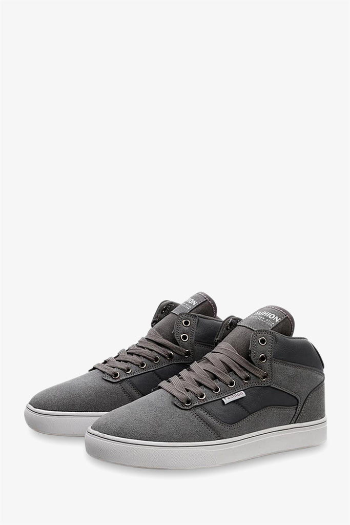 High Top Suede Sneakers In Gray